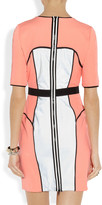 Milly Neon and reflective-mesh paneled ponte dress