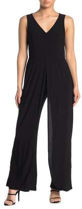 MSK V-Neck Walk Through Wide Leg Jumpsuit