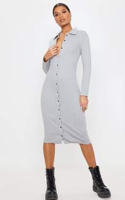 PrettyLittleThing Grey Heavy Rib Button Front Collar Detail Long Sleeve Midi