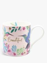 Bellybutton Designs Beautiful Hummingbird Mug, 350ml, Pink/Multi