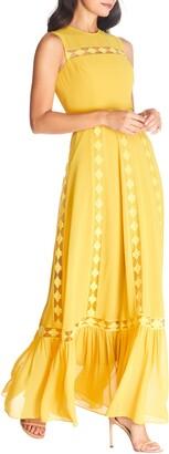 Dress the Population Bonnie Lace Inset Chiffon Maxi Dress