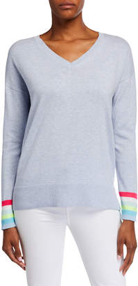 LISA TODD Just Sayin V-Neck Sweater w/ Sequin Elbow Patch Detail