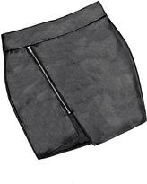 Awtang Women's Sexy Black Slim Mini Faux Leather Zipper Bodycon Skirt