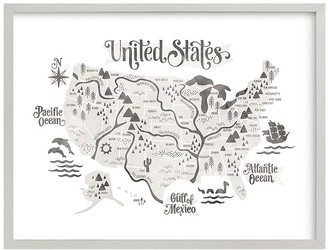 Pottery Barn Kids Minted Pirate Map Wall Art by Jessie Steury