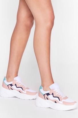 Nasty Gal Womens Do a Little Dance Colorblock Chunky Sneakers - Multi