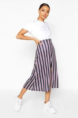 boohoo Slit Front Striped Midi Skirt