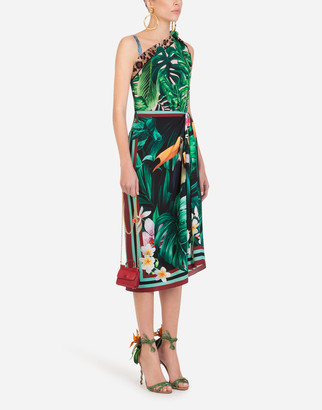 Dolce & Gabbana One-Shoulder Longuette Dress In Twill With Leaf And Toucan Print
