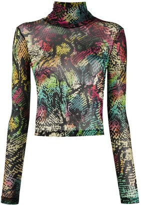 Just Cavalli Abstract-Print High-Neck Top