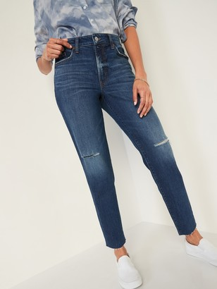 Old Navy High-Waisted O.G. Straight Ripped Cut-Off Jeans for Women