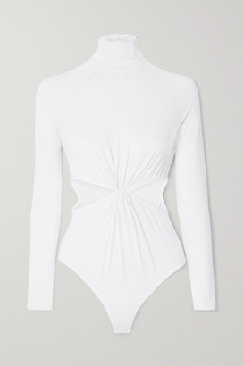 Marika Vera Laura Cutout Stretch-jersey Turtleneck Thong Bodysuit - White