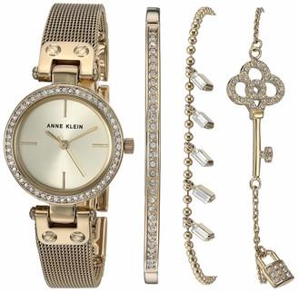 Anne Klein Women's Swarovski Crystal Accented Gold-Tone Mesh Watch and Bracelet Set AK/3424GBST