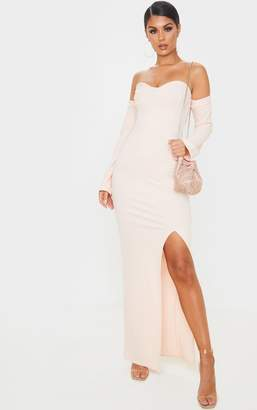 PrettyLittleThing Black Cup Detail Bardot Sleeve Maxi Dress