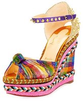 Christian Louboutin Madcarina Knotted Spiked Wedge Espadrille Sandal, Multi