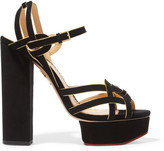 Charlotte Olympia Forever Young Metallic-trimmed Suede Platform Sandals - Black