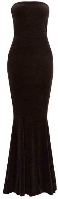 Norma Kamali Strapless Fishtail Velvet Dress - Womens - Black