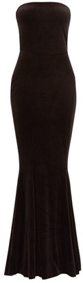 Norma Kamali Strapless Fishtail Velvet Dress - Black