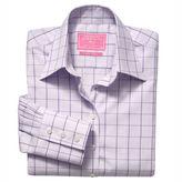 Purple Prince of Wales check non-iron classic shirt