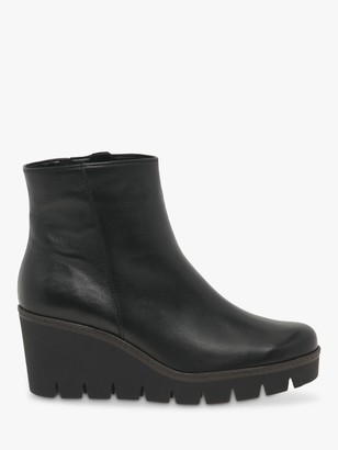 Gabor Utopia Leather Wedge Heeled Ankle Boots, Black