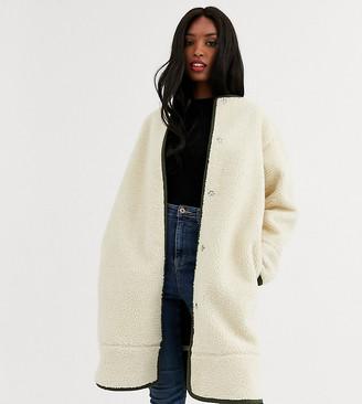 ASOS DESIGN Tall collarless borg coat with seam detail in cream