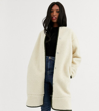 Asos Tall ASOS DESIGN Tall collarless borg coat with seam detail in cream