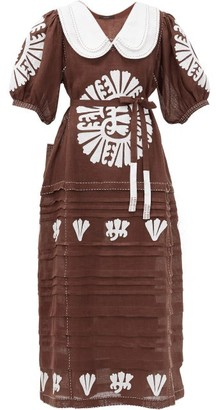 Vita Kin Camelia Floral-embroidered Linen Midi Dress - Brown White