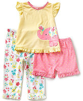 Little Me Baby Girls 3-12 Months Elephant Pajama Top, Floral Pajama Pants and Dotted Shorts Set