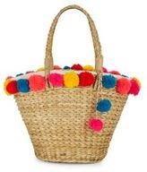 Kareenas Pom-Pom Trimmed Straw Bag