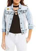 YMI Jeanswear Acid Wash Patchwork Woven Stretch Denim Jacket