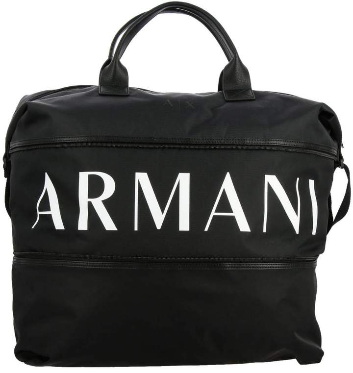 Armani Exchange Bags Gym Nylon Bag With Full Zip With Logo Print