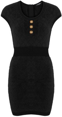 Balmain Black textured-knit mini dress