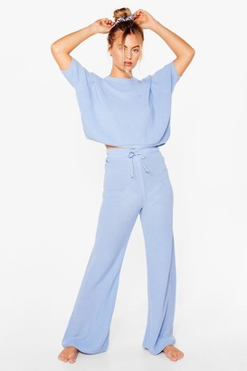 Nasty Gal Womens Let's Stay Home Knitted trousers Lounge Set - Blue - S