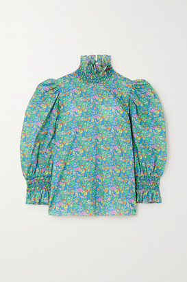 Horror Vacui Collia Floral-print Cotton-poplin Blouse - Green
