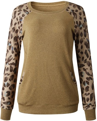Goodnight Macaroon 'Alexa' Leopard Print Sleeves Pocket Pullover (3 Colors)
