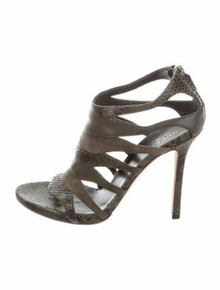 Gucci Snakeskin Cutout Accent Sandals Green