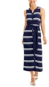 Charter Club Striped Maxi Dress, Created for Macy's