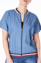 Plus Size Women's Elvi Embroidered Denim Bomber Top