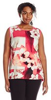 Calvin Klein Women's Plus-Size Sleeveless Floral-Print Top with Woven Front Shell