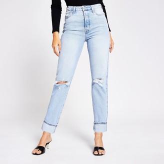 River Island Womens Light Blue rip super high rise straight jeans