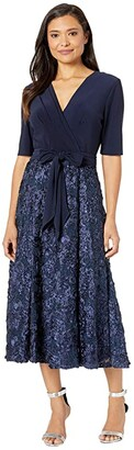 Alex Evenings Tea Length Party Dress with Full Rosette Skirt, and Tie Faux Belt (Navy) Women's Dress
