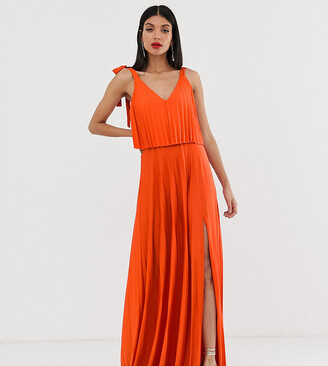 Asos Tall DESIGN Tall tie shoulder pleated crop top maxi dress-Orange