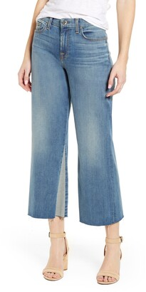 JEN7 by 7 For All Mankind High Waist Contrast Panel Crop Wide Leg Jeans