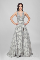 Terani Evening - Eccentric Floral Accented Illusion Neck A-line Gown Couture1722E4249