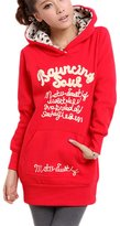 XiaMi Women's Thicken Plus size Loose Hoodies Midi Sweater Shirt Red
