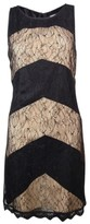 Jessica Simpson Women's Lace Overlay Chevron Tie Back Dress (12, Black)