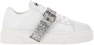 Miu Miu Sneakers In Fancy Leather With Glitter Buckle