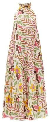 Rhode Resort Julia Ruffled Floral-print Cotton-poplin Dress - Cream Multi