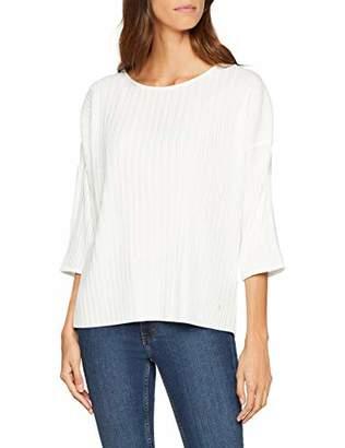Tom Tailor Women's Feminines Plissee Shirt Mit 3/4 Arm T (Whisper White 10315), XX-Large