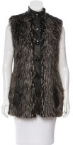 Rachel Zoe Leather-Trimmed Faux Fur Vest