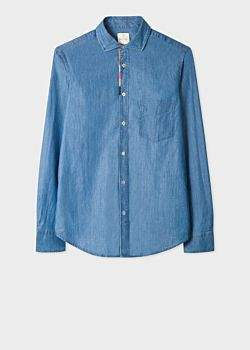 ae2ce4593995 Men's Tailored-Fit Blue Chambray Shirt With 'Artist Stripe' Placket  Embroidery Detail