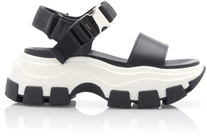 Prada Buckled Leather And Rubber Sandals